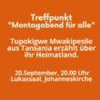"""Treffpunkt """"Montagabend für alle"""" –  Tupokigwe Mwakipesile aus Tansania erzählt über ihr Heimatland"""